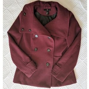 H&M Maroon Double Breasted Wool Pea Coat